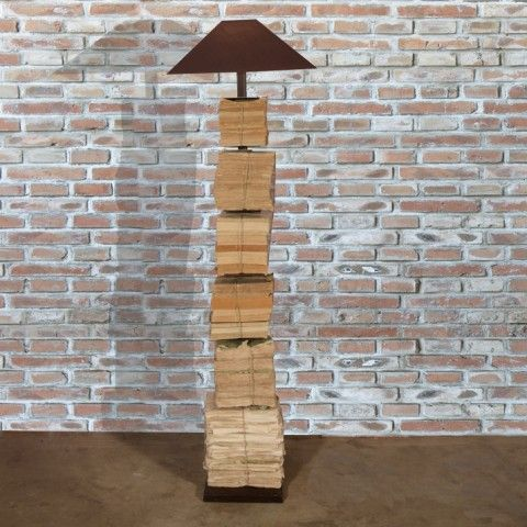 SIX SHELF METAL ETAGERE STANDARD LAMP WITH FRENCH BOOKS AND SHADE H1960 L600