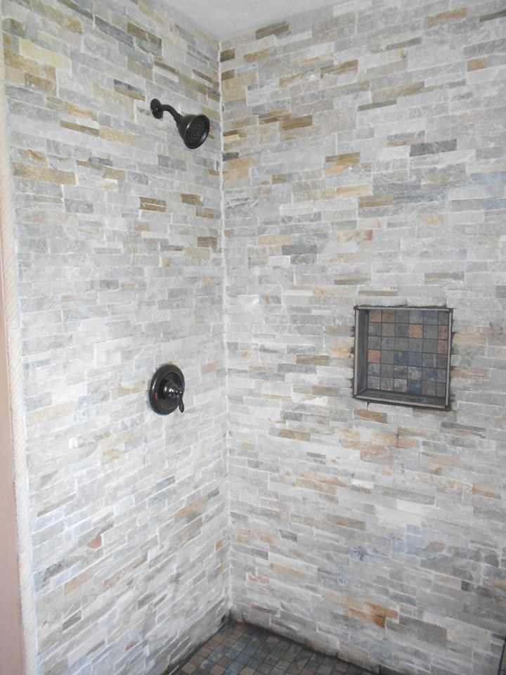 Gray stone tile shower grey stone tile shower our tile for Bathroom stone tiles designs