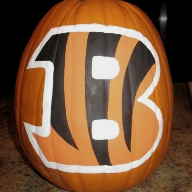 pumpkins my freehandedly painted bengals pumpkin for hubby