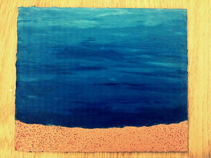 Barbara Reid - good copy: background and sand. I'm going to add some corals and seaweed... Wait no I'm not, I'm going to add some rocks in the background first.