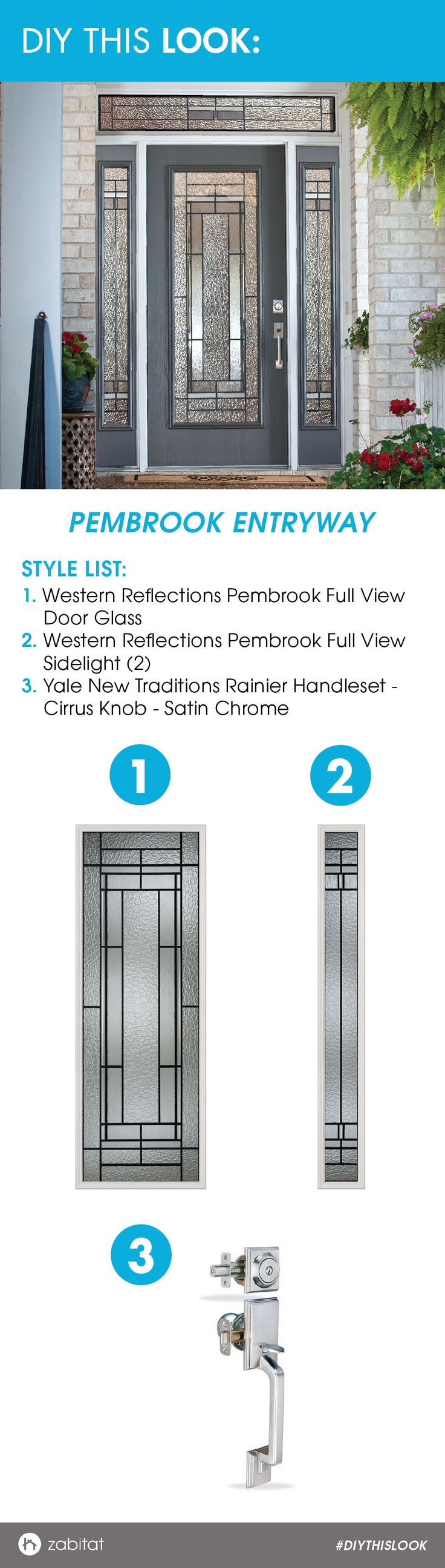 Western Reflections Pembrook Door Glass Insert paired with a Yale Satin Chrome Handleset