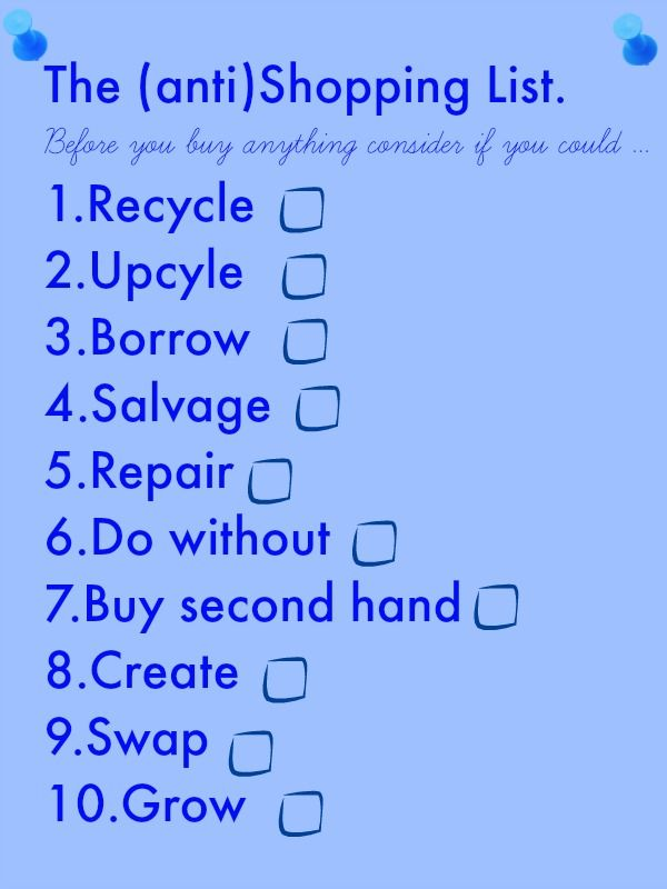 The anti shopping list, shopping  The BEST shopping list for a thrifty family