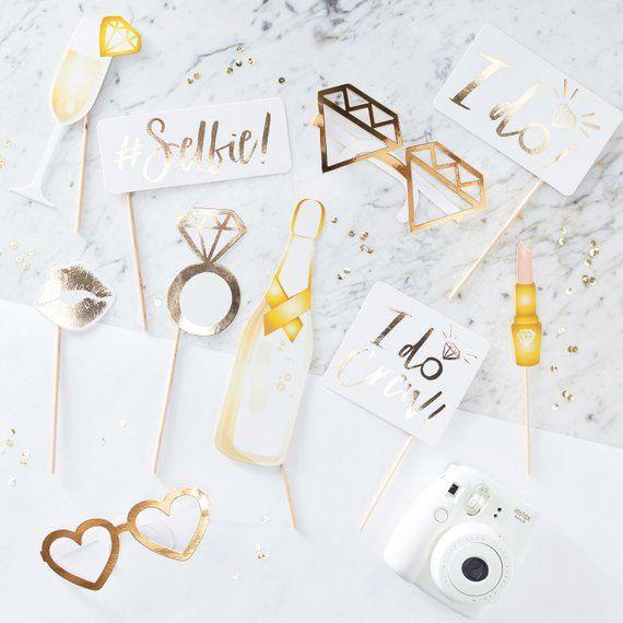 Foto Accessoires Hochzeit Brautparty Fotobox Gold Bridal Shower Photo Prop Wedding Photo Booth Props Bachelorette Party Photo