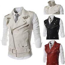 Marca grande lapela de couro PU de ternos dos homens colete colete casuais para homens M-XXL(China (Mainland))
