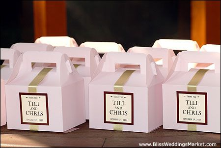 white box with beige ribbon