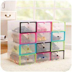 Multifuncional de plástico transparente caixa de armazenamento de sapato organizador diy caso gaveta empilhável
