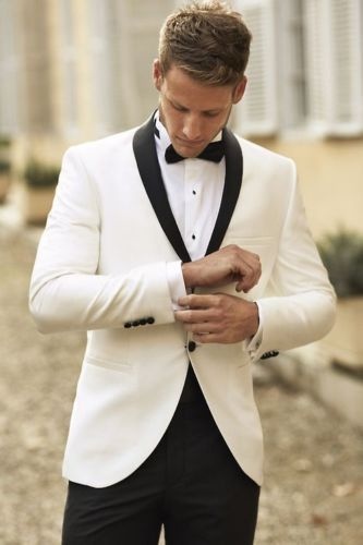 White Groom Tuxedos Men Wedding Suits Black Shawl Lapel and Pants Groomsmen Suit #Custom #New