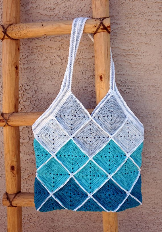 Blue Squares Cotton Crochet Beach Bag  Market  by CeraBoutique