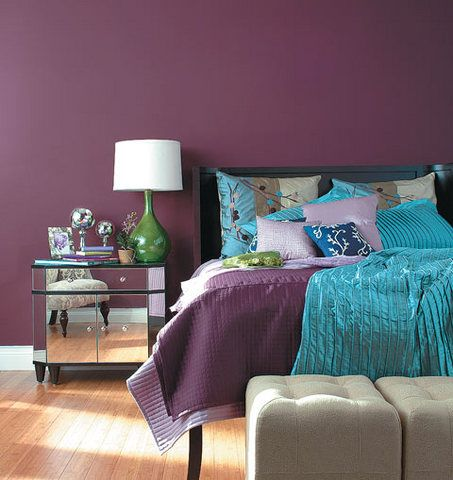 Bedroom Elegant Purple With Blue Bedding And Walls Mirrored Nighstand Green Base White Shade Bedside Lamp