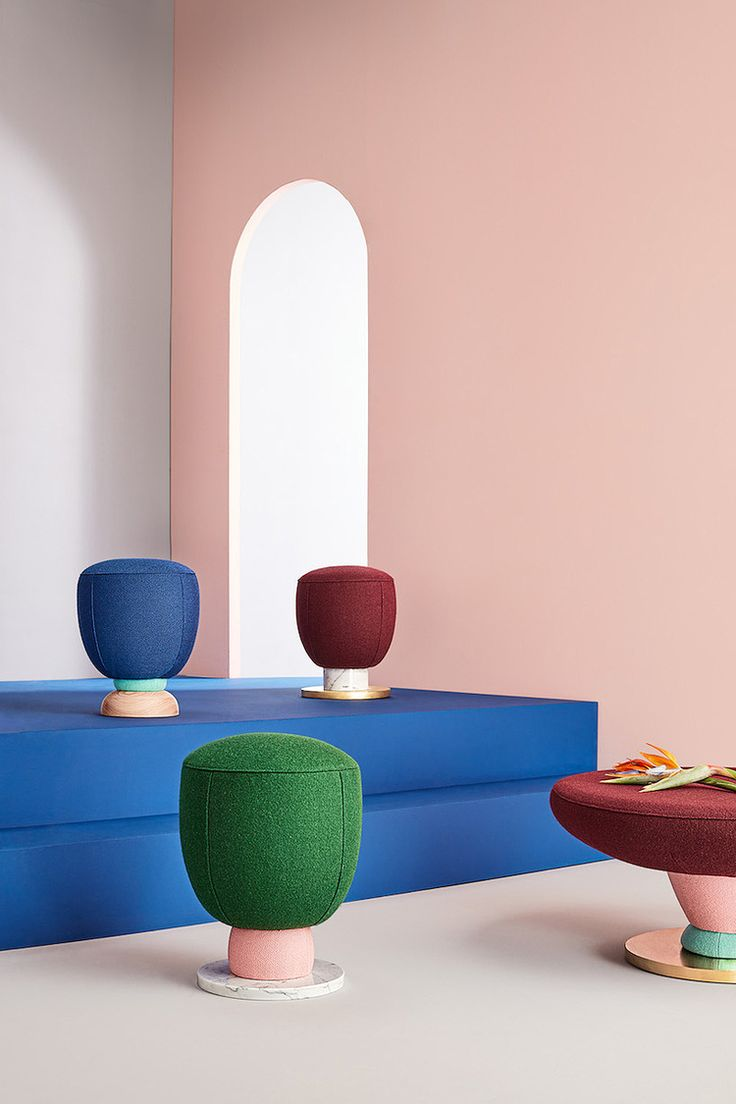Masquespacio goes memphis with toadstool furniture collection for missana
