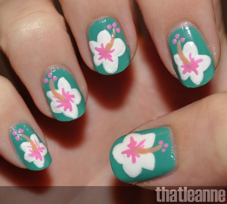 Hawaiian Flower Nail Art, Nail Art Hawaiian Flowers Nail Art .. - The 25+ Best Hawaiian Flower Nails Ideas On Pinterest Hawaiian