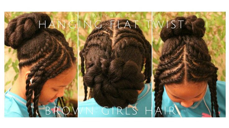 little black brown girls hair style ponytails updo flat twists