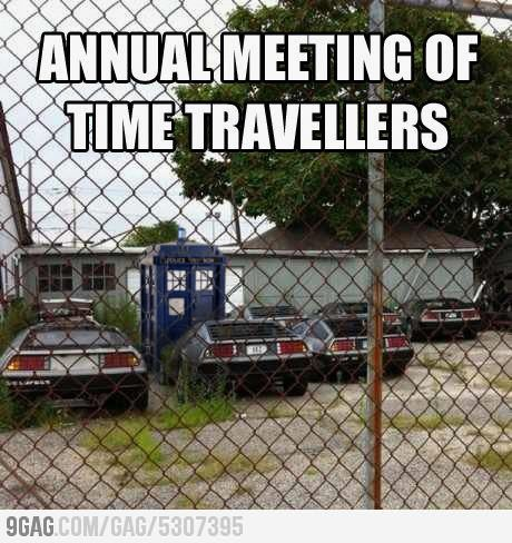 The meeting of time travelers.Geek, Time Travel, The Tardis, Funny Pictures, Doctorwho, Schools Buses, Timetravel, Doctors Who, Annual Meeting