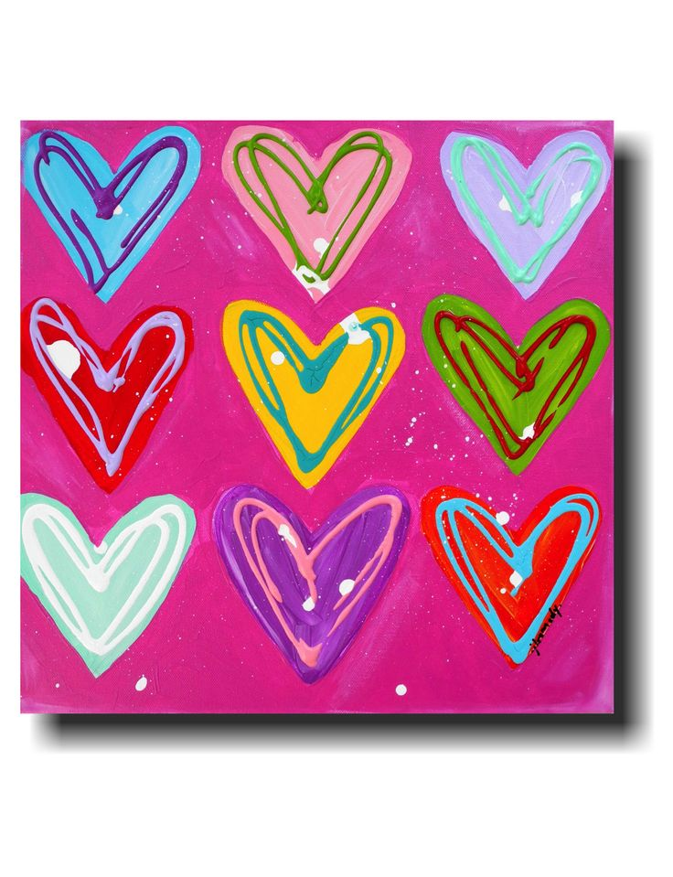HAPPY HEARTS . 16 X 16 Original painting on canvas.     oh my. $125.00, via Etsy.