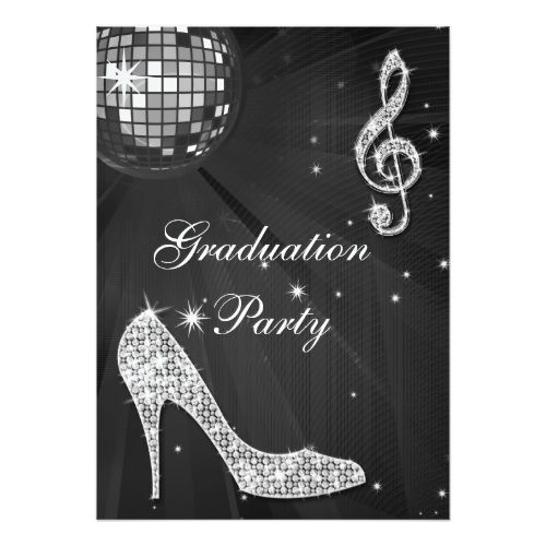Black & Silver Disco Ball Sparkle Heels Graduation Card