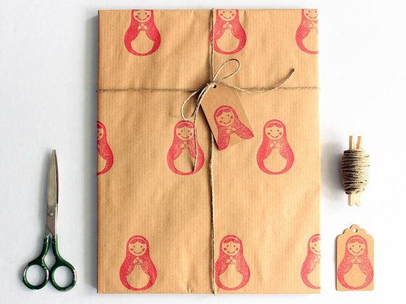 Matryoshka gift wrap set  Hand printed Christmas by PinaPango