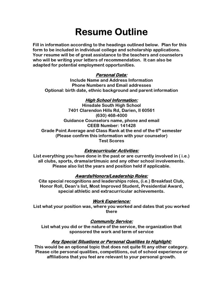 Resume Outline Format | Resume Format And Resume Maker