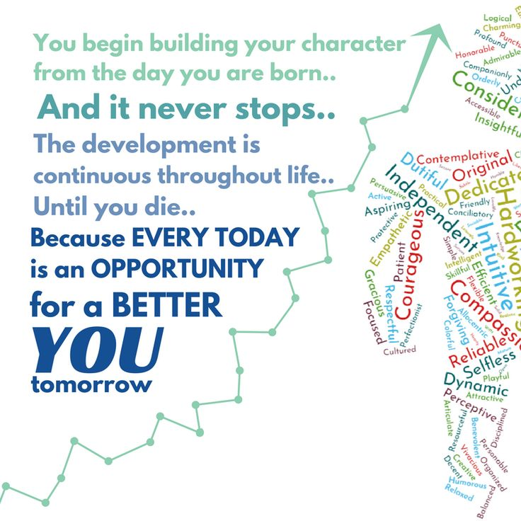 You begin building your character from the day are born..  And IT NEVER STOPS. The development is continuous throughout life.. Until you die.. Because EVERY TODAY is an OPPORTUNITY for a better YOU tomorrow!  #opportunities #tomorrow #better #growth #personal growth #character
