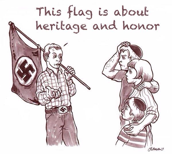 Why do the KKK use the swastika and the confederate flag as symbols, because the conjure up racism and bigotry the main stays of the KKK.