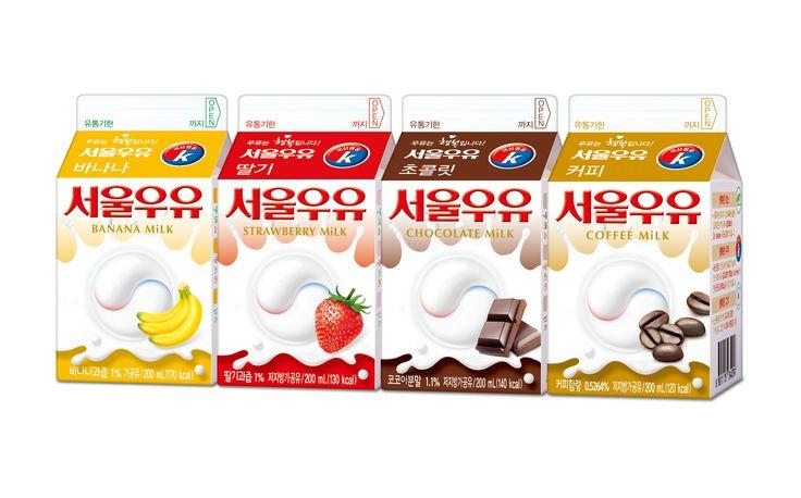 서울우유 가공우유 딸기, 초콜릿, 커피, 바나나 / 딸기우유 /  초코우유 /  커피우유 / 바나나우유 / 국산 1급A 원유 사용, 색소를 첨가하지 않아 순수하고 풍부한 맛을 자랑