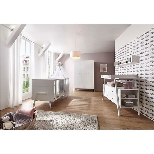 Epic Komplett Kinderzimmer Holly White Kombi Kinderbett x cm Umbauseiten Wickelkommode und Kleiderschrank trg Dekor Massivholz wei