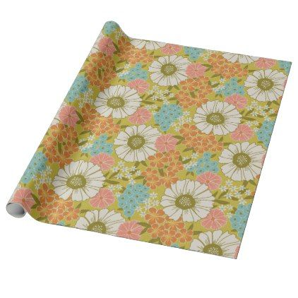 Vintage Floral Feed Sack Wrapping Paper - floral style flower flowers stylish diy personalize