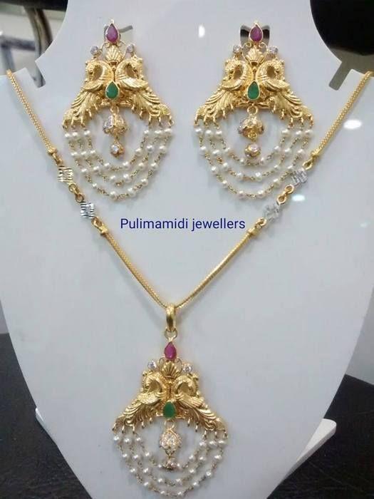 Simple Pearls Tassels Pendant Earrings | Jewellery Designs