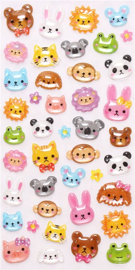 hard 3D stickers with funny animals from Japan I have then for i phone's and i pod's botton