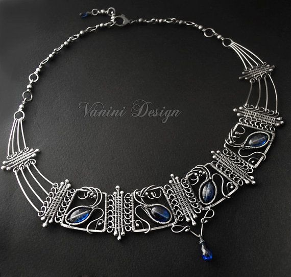 The Crown  Fine silver and kyanite necklace by vanini on Etsy, $579.00