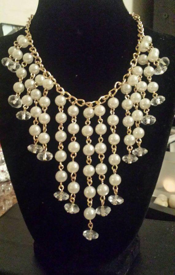 Collar babero cascada perlas perlas de por EarResistiblesIvory