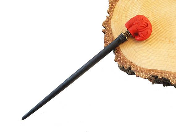Wooden hair stick with big elephant made of red cinnabar