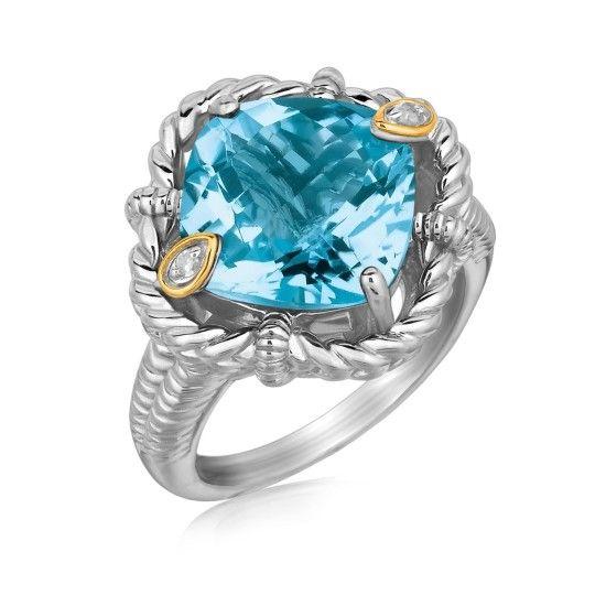 Kuddslipad Blå Topasring med Diamanter