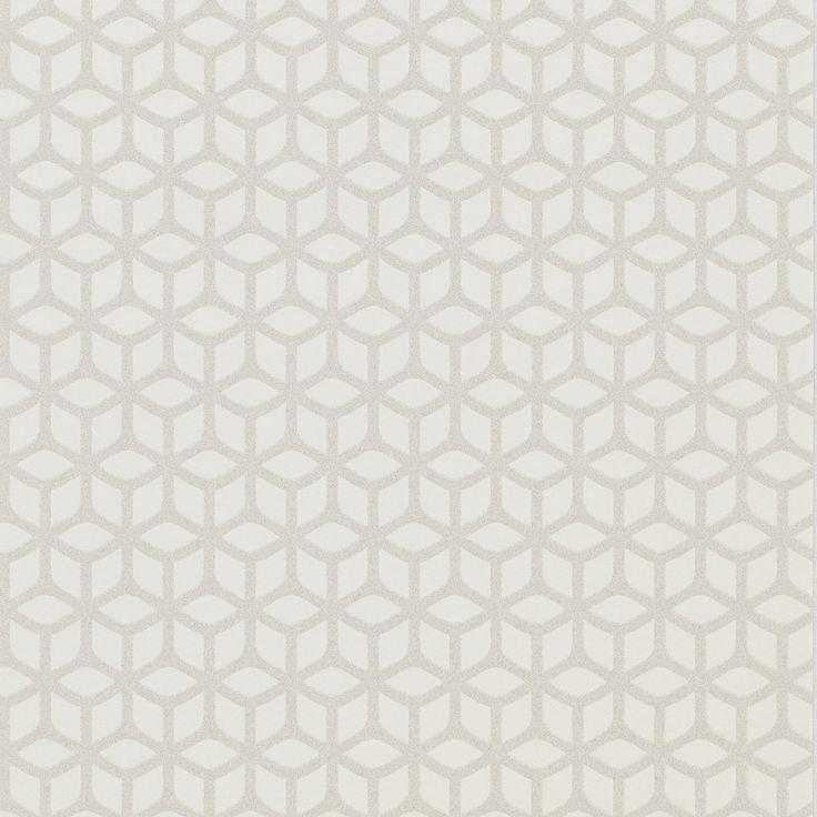 Papier Peint ANAE Intissé Motif Ton Sur Ton En Billes De Verre, Blanc    Peinture