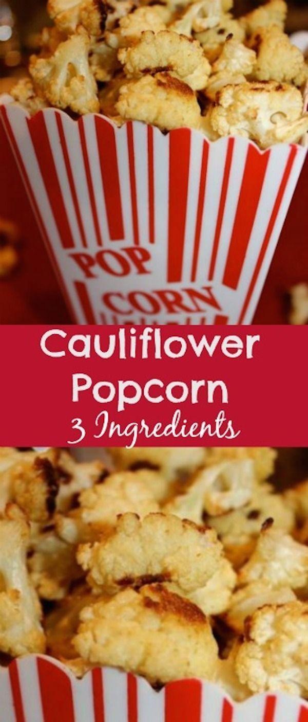 Better than regular popcorn! 3 ingredients. Healthy snack recipe. Cauliflower is delicious.