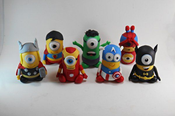 Minions herois em biscuit