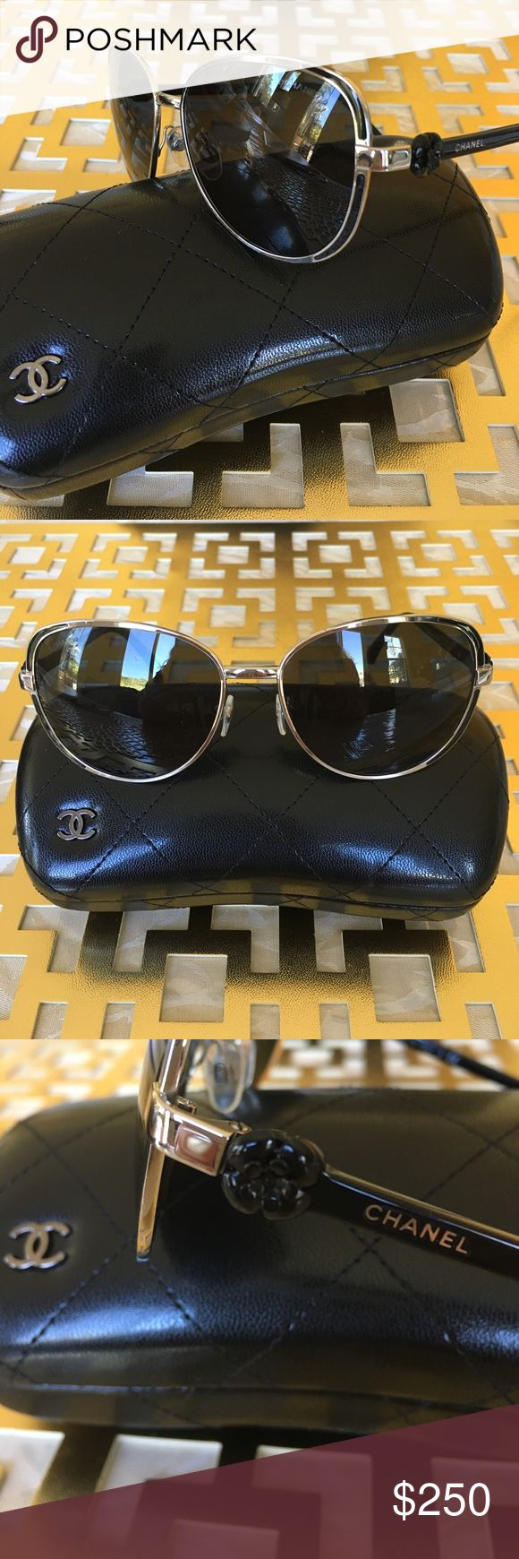 Chanel Camellia Round Susglasses Found les than 1mm scratch on the flame of right side. Glasses are in solid condition with beautiful brand names on. Be the Coco. CHANEL Accessories Sunglasses