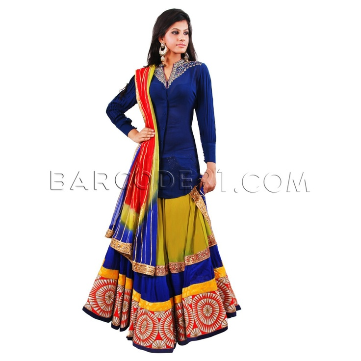 $740 Mehandi green georgette lehanga with eighteen meters ghera with a broad red zari border and a mango yellow brocade , royal blue and red gotapatti border on hemline teamed with a georgette button down shirt with intricate diamond work on front and back. Slight variation is possible in color.