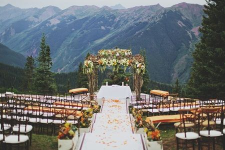 Coral and Green Outdoor Wedding Ceremony