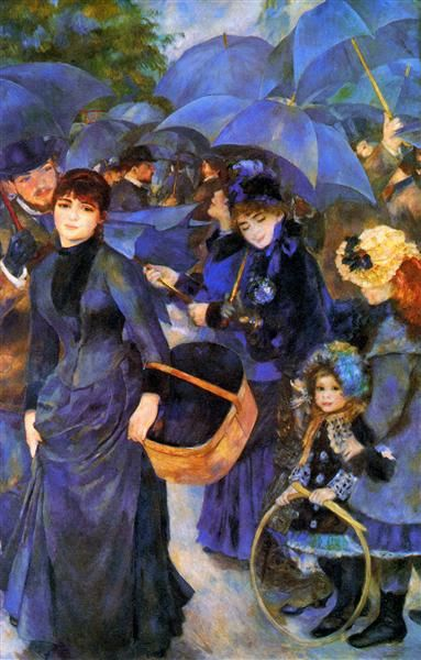 Umbrellas, 1886 by Pierre-Auguste Renoir, Rejection of Impressionism. Post-Impressionism. genre painting
