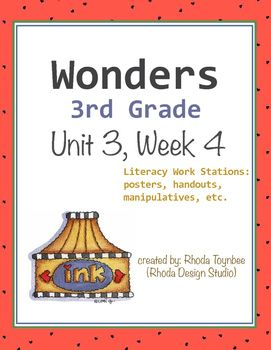 Wonders Reading3rd GradeUnit 3, Week 4This resource includes the following itemsUnit Focus Posters:Essential Unit QuestionsWeekly SkillsLiteracy Work Stations:Parts of SpeechSentence EditingFlash CardsWord ScrambleWord SortPrefixes/Suffixes Match-upWord Match: SynonymsWord/Definition Match-upComprehension/OrganizationGraphic Organizers (for each story)Response to Literature QuestionsThis resource has been created for use with the Wonders Reading Program by McGraw-Hill.