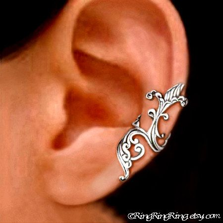 925 Iris wave  solid sterling silver ear cuff by RingRingRing,