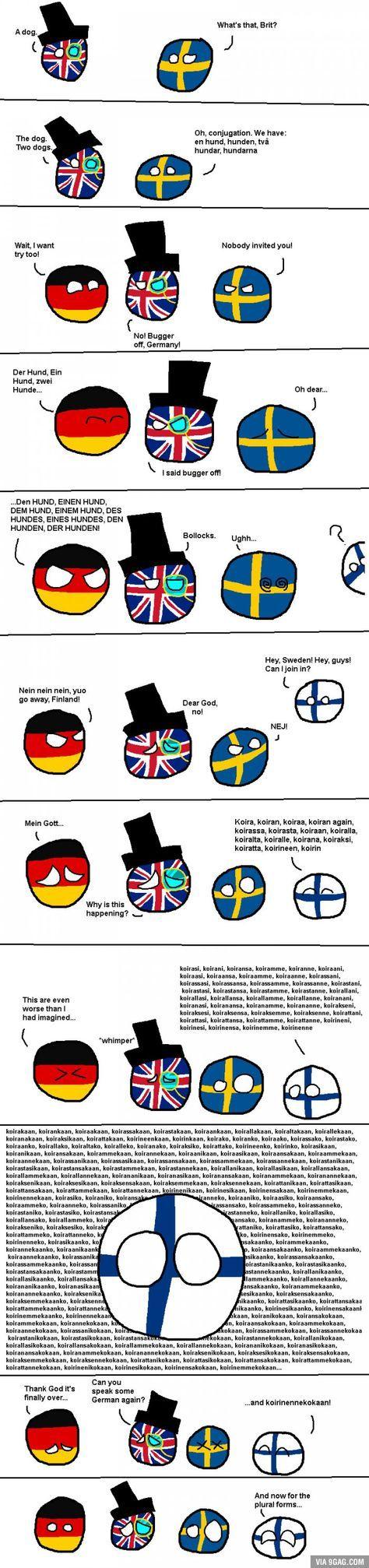 Countryball: Finnish grammar, thou art a bitch