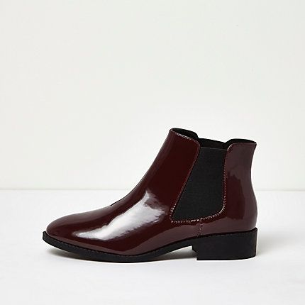 Dark red patent Chelsea boots £38.00