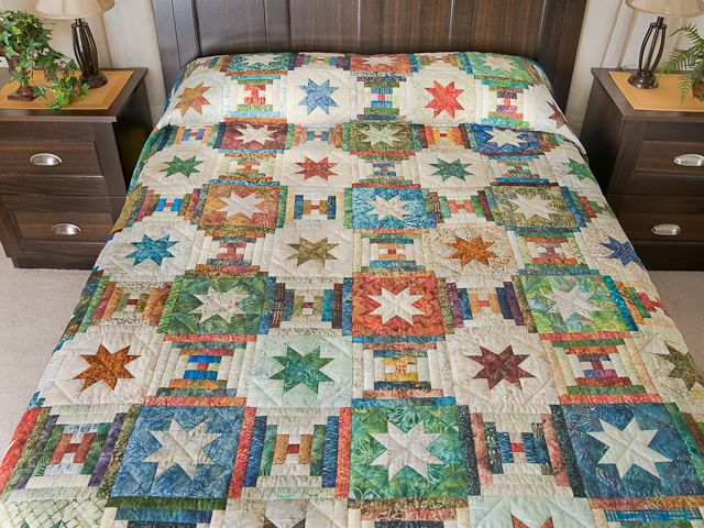Courthouse Log Cabin Star Quilt -- wonderful skillfully made Amish Quilts from Lancaster (hs6584)