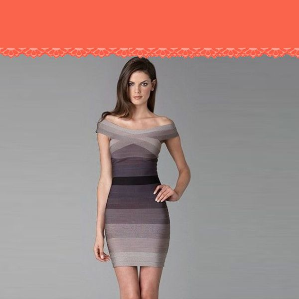 Herve Leger Couture Dress in Sand or Gray