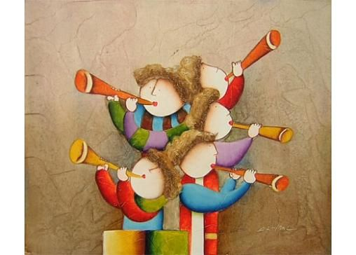 Obraz - Děti hrající na trubku