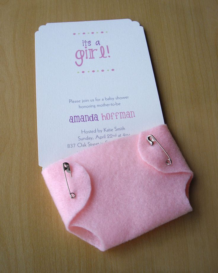 Girl Baby Shower Invitations with Pink Diaper