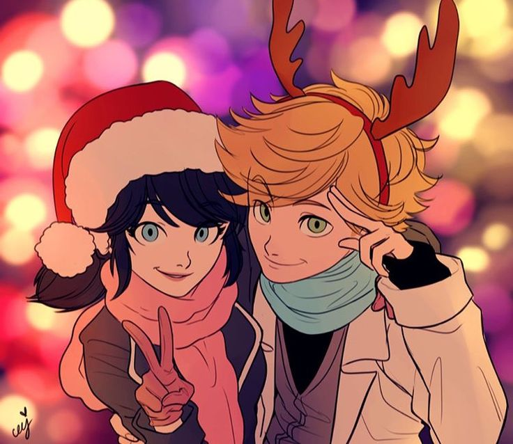 Art by @ceejeles  Adrien and Marinette at Christmas