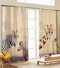 Cortinas modernas estilo verão Zebra girafa crianças linho cortinas para quarto cortinas crianças dos desenhos animados janela cortinas Blackout(China (Mainland))