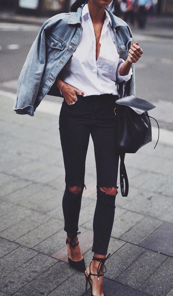 #fall #outfits  women's black knee cut pants